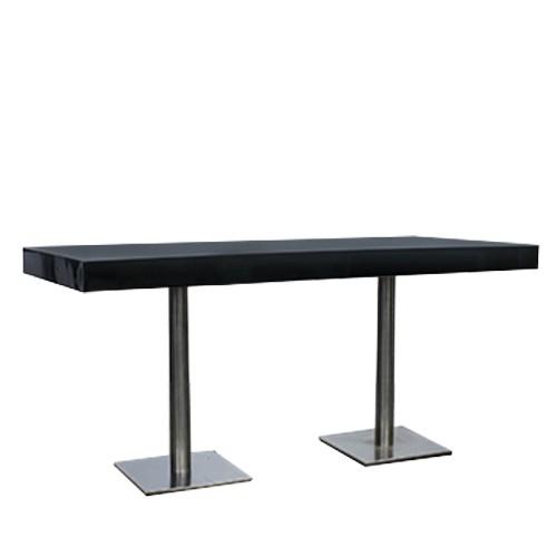 Dinertafel Pieter XL, hoogglans dik zwart blad, lxb 80x180 c