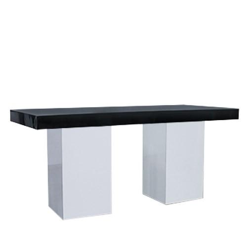 Dinertafel Jasper XL wit, met dik hg zwart blad