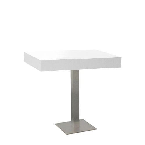 White zittafel, met RVS onderstel, lxbxh 80x60x76 cm.