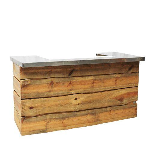 Rustiek buffet hout, met RVS blad
