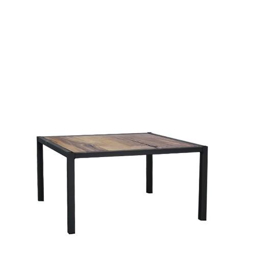 Hot Metal salontafel, 60x60 cm, met houten blad
