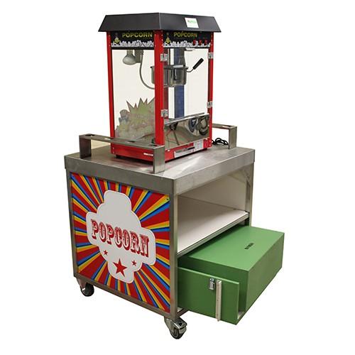 Popcorn machine, op verrijdbaar onderstel