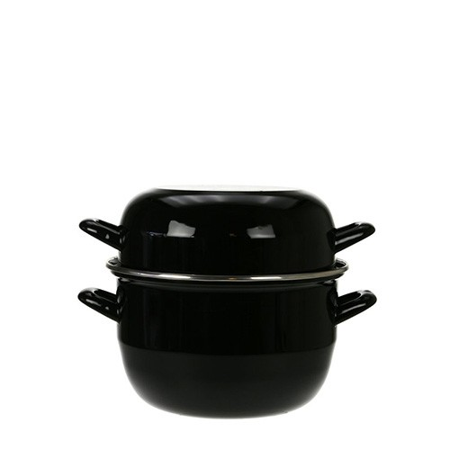 Mosselpan zwart, met deksel
