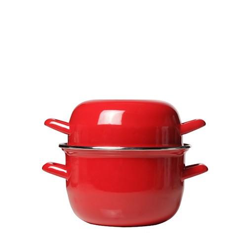 Mosselpan rood, 2,8 liter / 18 cm, met deksel