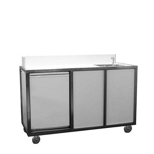 Mobiele wastafel RVS wit, met koelkast en close-in boiler
