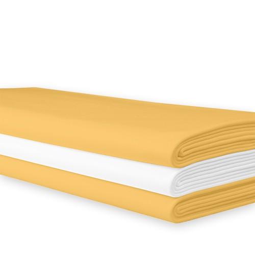 Tafellaken geel damast, 250x140 cm.