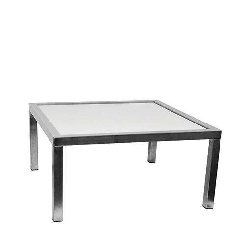 Salontafel vierkant, met witte inlegplaat