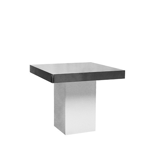 Monaco zittafel, witte kolom met RVS blad