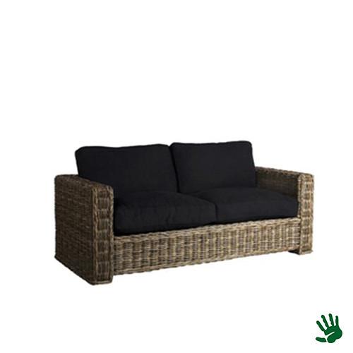 Asian lounge rieten bank met zwarte kussens