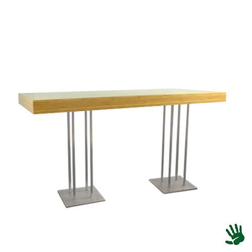 Bamboo statafel lang, met RVS Quatro onderstel