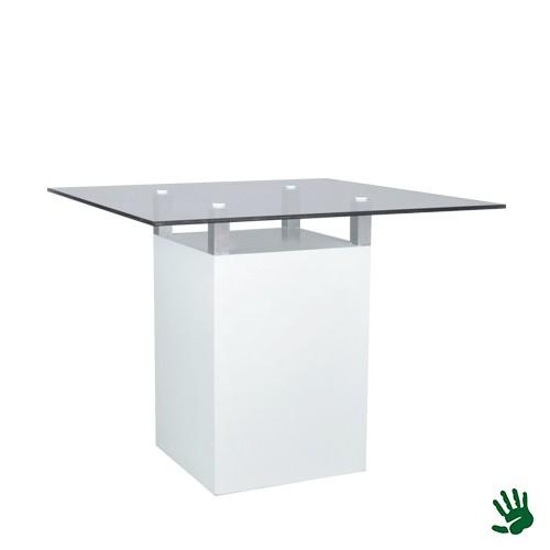 White Heaven zittafel, met heldere glasplaat