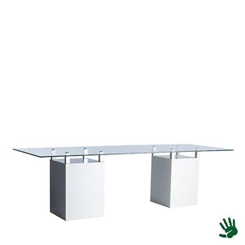 White Heaven zittafel lang, met frosted glasplaat