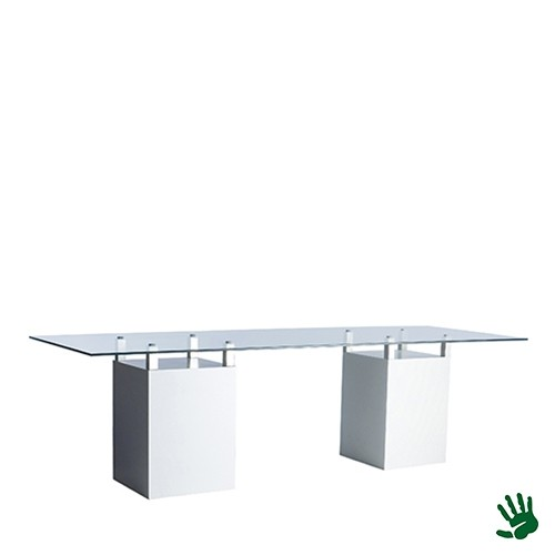 White Heaven zittafel lang, met heldere glasplaat