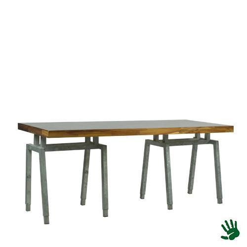 Palissander zittafel lang, met Steel onderstel