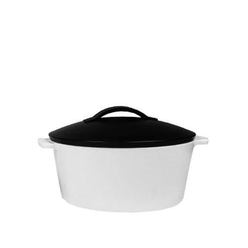 Braadpan satijn wit rond, met zwarte deksel