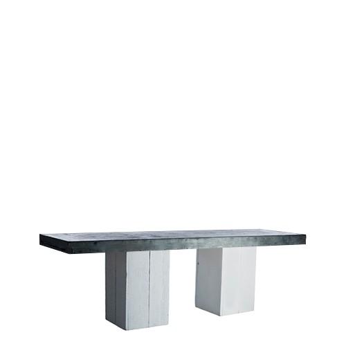 Woodstock White zittafel, lang, met zinken blad