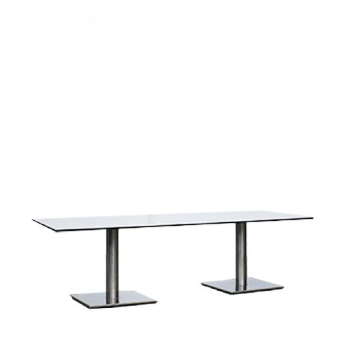 Salontafel Pieter XL, met hoogglans dun wit blad, lxb 70x160