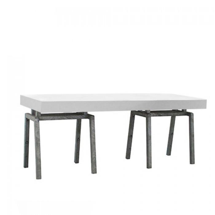 Steel White zittafel, lang