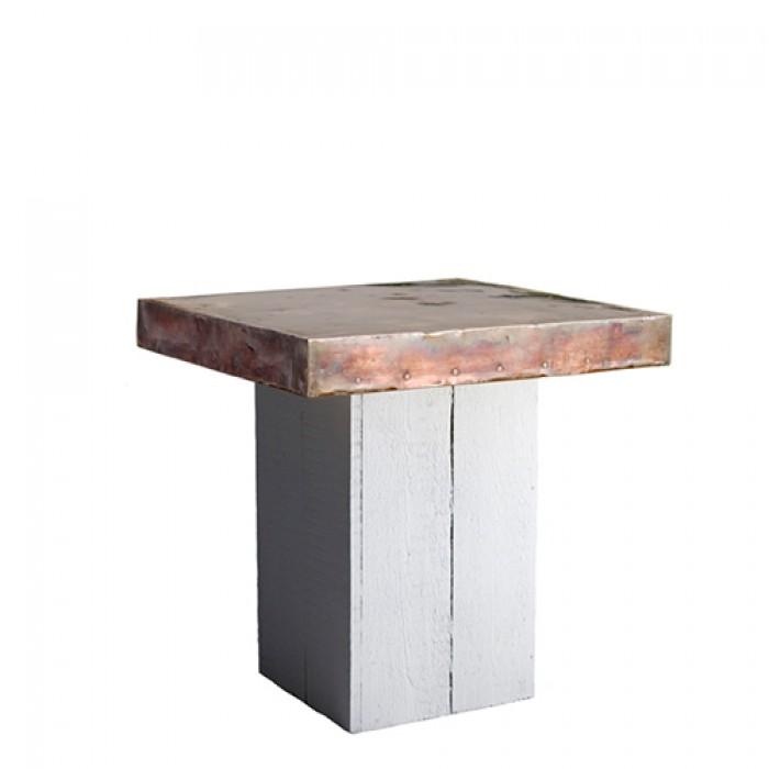 Woodstock White zittafel, met koper blad