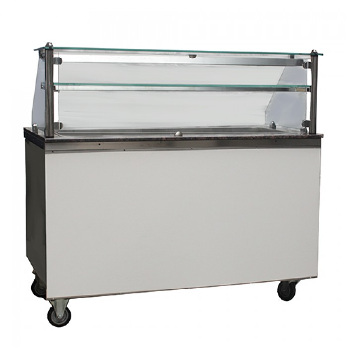 Uitgifte buffet warm 4x 1/1 GN, incl. vitrine met warmtelamp