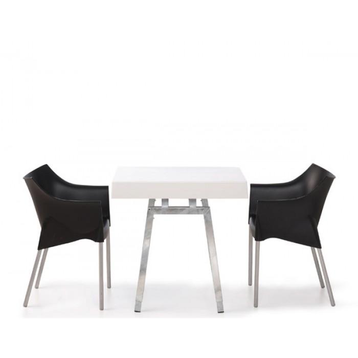 Steel White Diner-/ Terrastafeltje, met wit blad