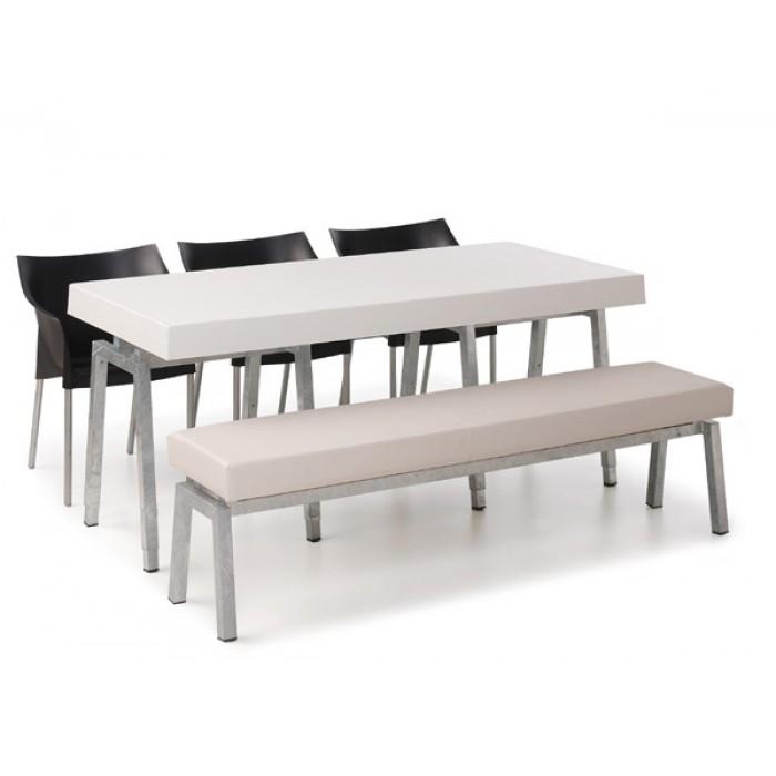 Steel White Diner-/ terrastafel lang, met wit blad