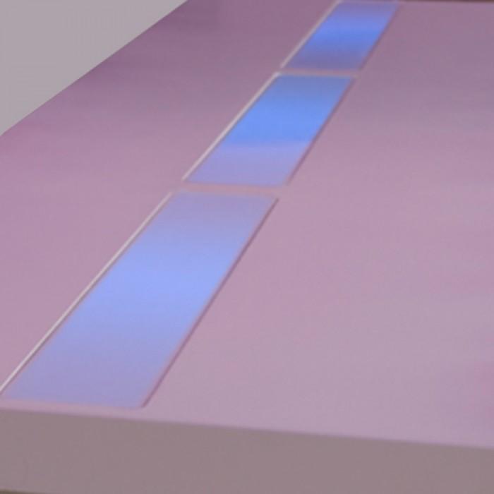 Highlight zittafel wit, met donker blauwe LED verlichting
