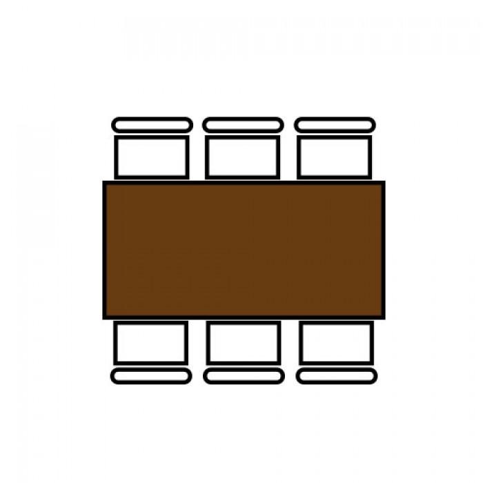 Klaptafel, 180 x 76 cm. indeling 6 personen