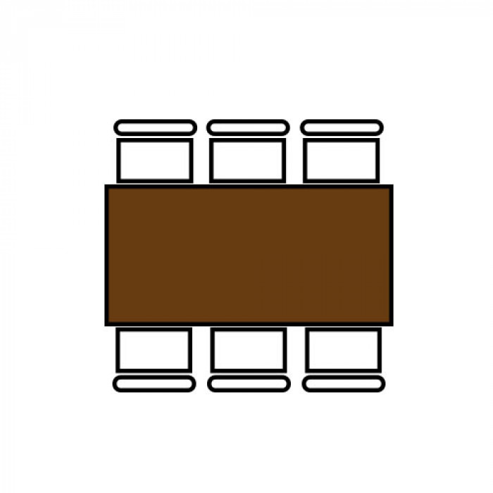 Klaptafel, 200 x 80 cm. indeling 6 personen