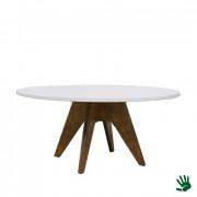 Oaky zittafel rond, met wit blad