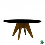 Oaky zittafel rond, met zwart blad