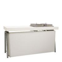 Steel White Buffet, 3 zijden gesloten met buffetblad incl. twee chafingdishes