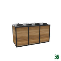 Hot metal buffet 2.0, met 4 chafingsdishes, 1/1 GN