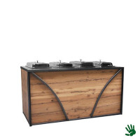 Hot metal buffet, met 4 chafingsdishes 1/1 GN