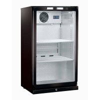Display koelkast zwart, met glazen deur, 138 liter