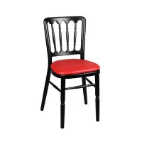 Stoel Napoleon Aluminium zwart, met rode zitting brandwerend