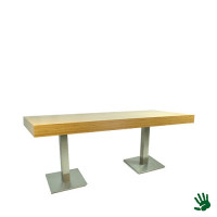 Bamboo zittafel lang, met RVS onderstel