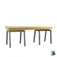 Bamboo zittafel lang, met Steel onderstel