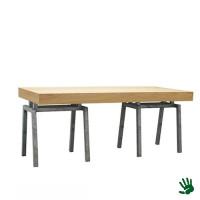 Oak zittafel lang, met Steel onderstel