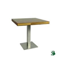 Palissander zittafel,  80x80, met RVS onderstel