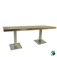 Palissander zittafel lang, met RVS onderstel