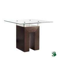 Taupe zittafel, met heldere glasplaat