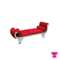 Sofa, rood fluweel/ goud