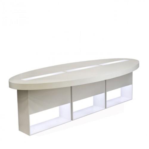 highlight zittafel ovaal wit met led verlichting